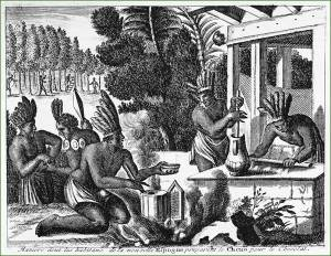 16th century drawing showing the Aztecs preparing the special spicy cocoa drink