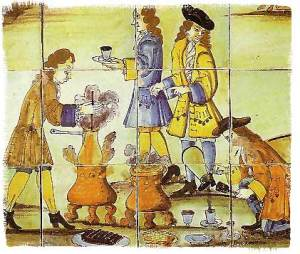 Spanish azulejo depicting the making of the hot cocoa drink, 17th century azulejo